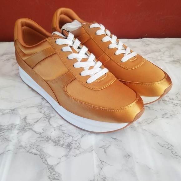 822a20d4f47 Zara Shoes   Woman Ss17 Mustard Satin Platform Sneakers   Poshmark